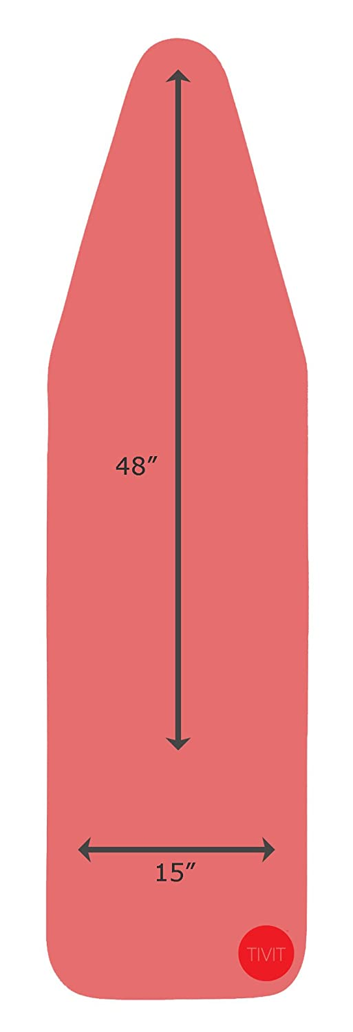 15 x 48 Inch CottonTek Pro - Heat-Reflective Advanced Cotton Technology - 5 Layer Padded Ironing Board Cover for Ironing & Steaming with Full Aluminum Lining - Coral Red/Patent Pending TIVIT