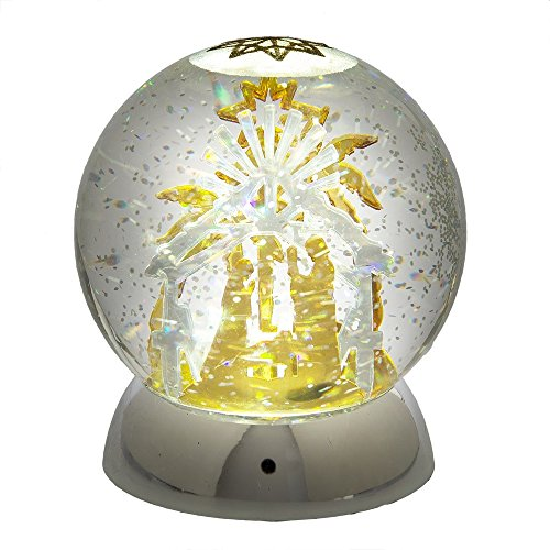 Scene Snowglobe Nativity (Midwest CBK Lighted LED Shimmer Nativity Scene Snowglobe)