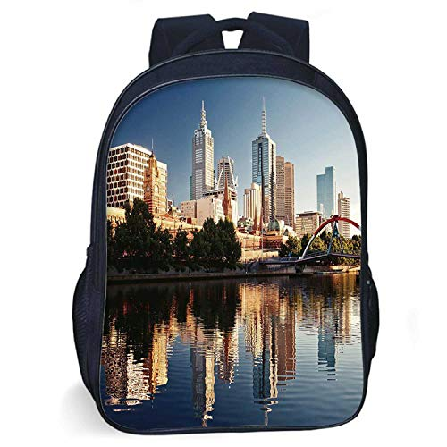 City Durable Schoolbag,Idyllic View of Yarra River Melbourne Australia Architecture Tourism for student,One size (Best Laptop For Architecture Student Australia)