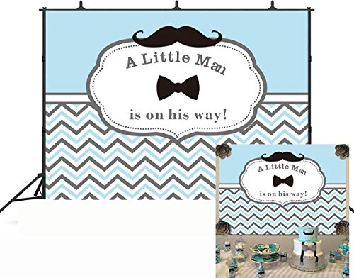 GYA 7x5FT Little Man Birthday Party Backdrop Mustache Wavy Stripes Boy First Birthday Photography Background Cake Table Decorations Baby Shower Photo Studio Booth Props th90-7x5FT