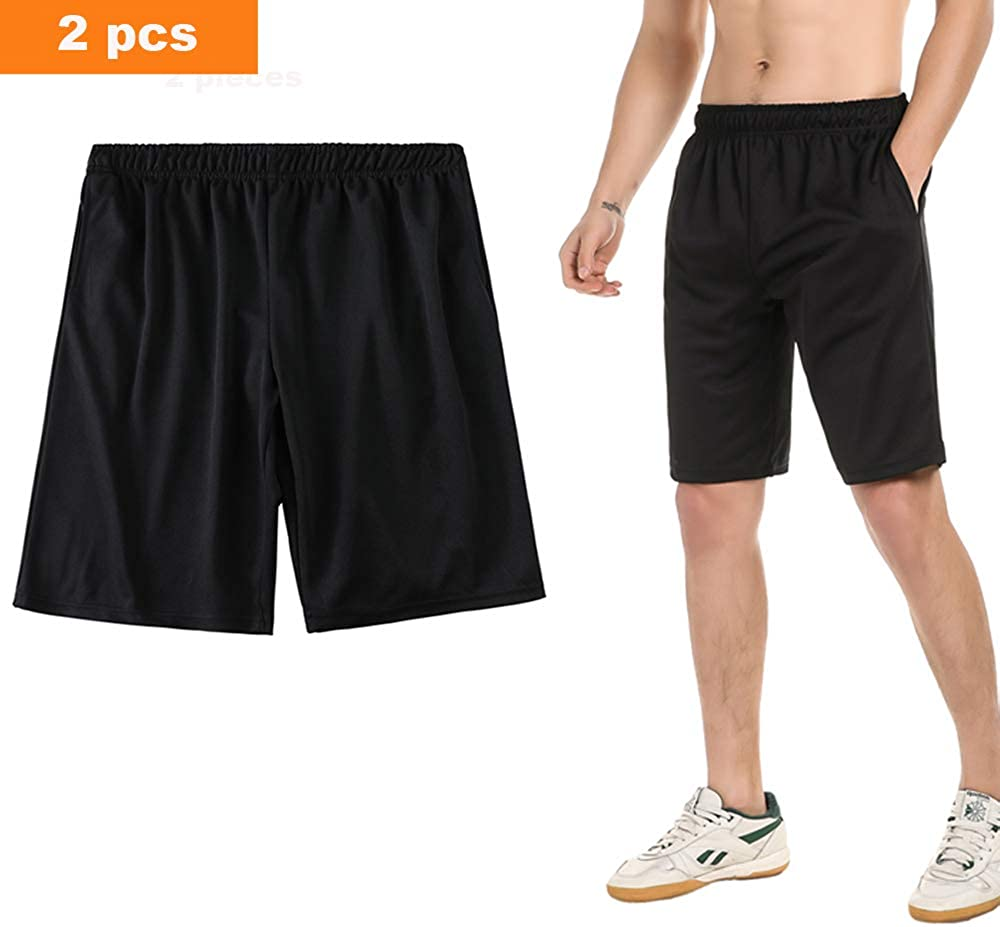 SAYFINE 2 Packs Men's Atheletic Shorts, Black Mens Workout Sport Active Loose-Fit Shorts