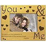 You & Me, Couples, Love. Romance, Solid Wood Photo Frame, Engraved with To Love is to find pleasure in the happiness of the person loved by The Engraving Gallery