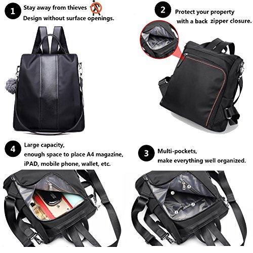 fd204344b4 ELIMPAUL Women Nylon Backpacks Anti-theft Rucksack Waterproof Shoulder Bags  School Bag for Girls