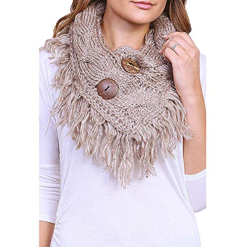 Women's Winter Warm Button Accent Cable Knit Infinity Scarf - YS3680 (Mocha)
