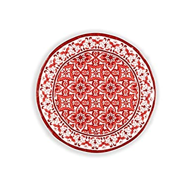 Q Squared Talavera in Roja BPA-Free Melamine Serving Platter, 16-Inches, Red and White