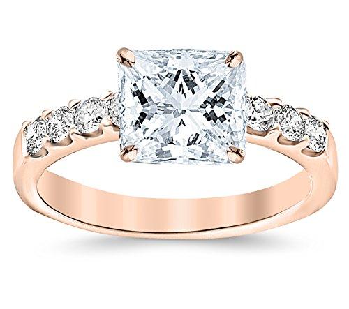 Vvs2 Ring (GIA Certified 1.03 Carat Princess Cut/Shape 14K Rose Gold Classic Prong Set Round Diamond Engagement Ring with a 0.50 Carat, E Color, VVS2-VS1 Clarity Center Stone)