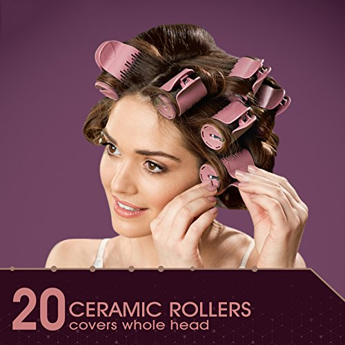 Remington Pro Series H9100P TStudio Thermaluxe Ceramic Hair Setter With 2x Ceramic Bonus Sectioning Clips Hair Rollers 1 1 Inch Blush Pink