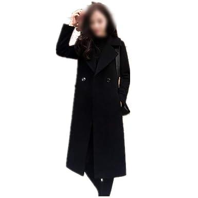 Dreamedge Women Woolen Coat Winter Coats Ladies Single Button Slim Black Coats Thick casacas Jackets,