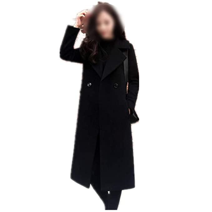 Amazon.com: Dreamedge Women Woolen Coat Winter Coats Ladies Single Button Slim Black Coats Thick casacas Jackets: Clothing
