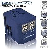 Power Plug Adapter - International Travel (Sand Blue)- w/4 USB Ports Work for 150+ Countries - 220 Volt Adapter - Travel Adapter Type C Type A Type G Type I for UK Japan China EU Europe European