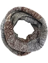 Leories Winter Warm Infinity Scarf Thick Knit Circle Loop Scarf Neck Warmer Brown