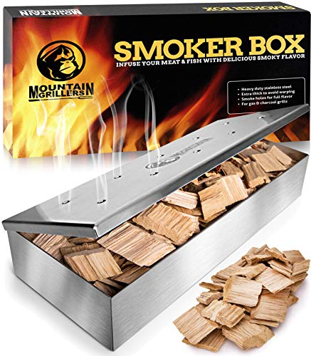 Smoker Box for Wood Chips - Use a Gas or Charcoal BBQ Grill and Still Get That Delicious Smoky Barbecue Flavored Grilled Meat - Brushed Finish Stainless Steel (Brushed Finish Stainless Steel) ()
