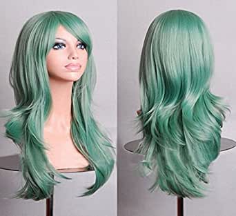 """HOTGEE(TM) 28"""" High Temperature Synthetic Fiber Healthy Hair Curly Wavy Cosplay Costume Wig (Green)"""