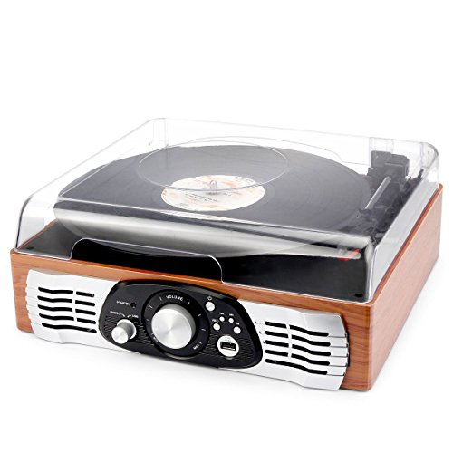 Marketworldcup - 3 Speed Stereo Turntable System Record Player Vinyl-to MP3 USB Nature Wood Brown by Marketworldcup