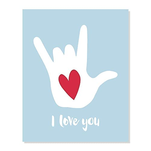 Amazon I Love You Sign Language Symbol Poster With Heart Blue