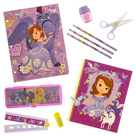 Disney Store Sofia the First Backpack Lunch Tote water bottle supply /& stationery