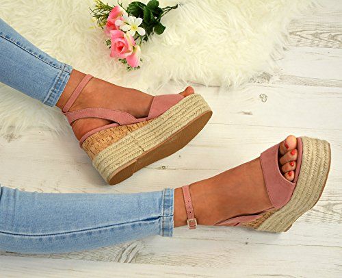 Cucu Fashion Ladies Womens Ankle Strap Flatform Wedge Platforms Sandals Espadrille Party Shoe Blush Pink Fnwp00EImL