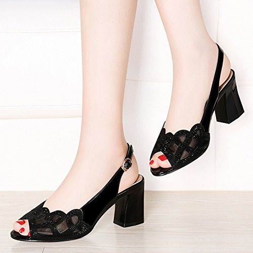 Shoes Mouth High Court Black High summer Water Sandals Heels HUAIHAIZ Shoes Sandals Pumps Sexy Heeled Fish Drilling vnwqxzUX1T