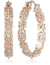 Rose Gold Plated Sterling Silver Filigree Hoop Earrings
