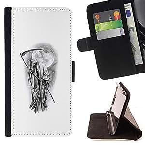 Ihec-Tech / Negro Flip PU Cuero Cover Case para HTC One M8 - Metal Rock Blanc Noir