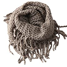 Scarf for Kid,Infinity Scarf for Baby,Neck Warmer for Toddler,UZZO&Trade; Unisex Baby Girl Boy Toddler Kids Winter Warm Crochet Knit Long Tassels Soft Wrap Shawl Scarves Infinity Scarf (Grey)
