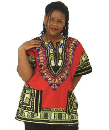 Traditional Thailand Style Dashiki - Available in Several Color Combinations (Red) by African Inspired Fashions
