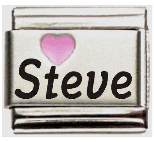 Steve Pink Heart Laser Name Italian Charm ()