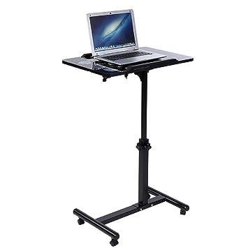Cocoarm Mesa de Ordenador Portatil con Ruedas, Escritorio para Laptop con Enfriador Ventiladores Altura Ajustable 64-88cm (Negro): Amazon.es: Hogar
