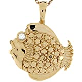 14k Real Two Toned Gold White CZ Accent Tropical Fish Ladies Pendant