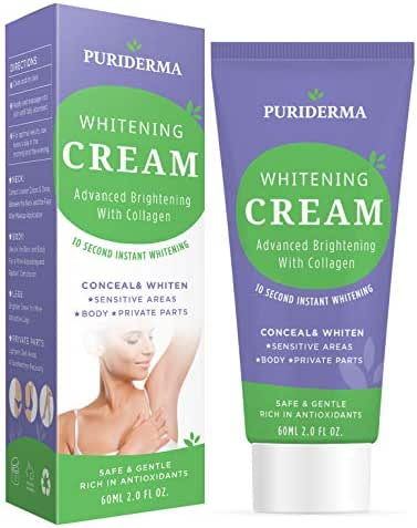Puriderma 10 Seconds Whitening Cream, Advanced Brightening With Collagen, Whitens and Lightens Discolored and Damaged Skin - for Underarm, Legs, Knees, Bikini Line
