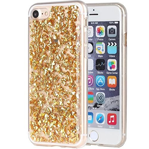 Smartcase Coque pour iPhone 7 Motif Pétales d'or