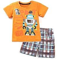 Dailybella Baby Toddler Boys Cotton Clothes Robot T-Shirt Tops Short Pants Summer Outfits Set