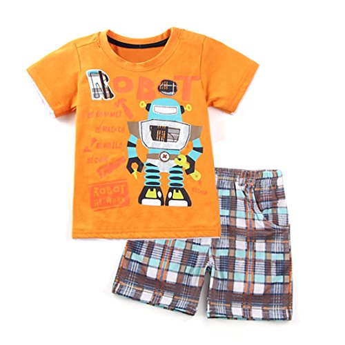 Dailybella Baby Toddler Boys Cotton Clothes Robot T-Shirt Tops Short Pants Summer Outfits Set (4T, ()