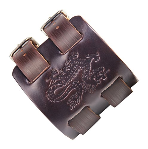 Fusamk Hip Hop Alloy Dragon Totem Adjustable Leather Bracelet Bangle,7.0-8.0inches