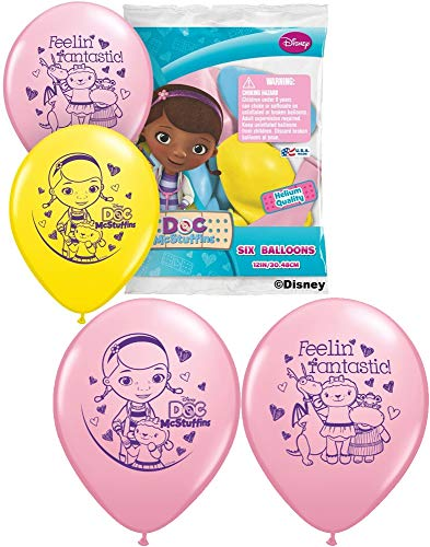 Pioneer Party Group Officially Licensed Disney 12-Inch Latex Balloons, DocMcStuffins Assorted Colors, 6-Count]()