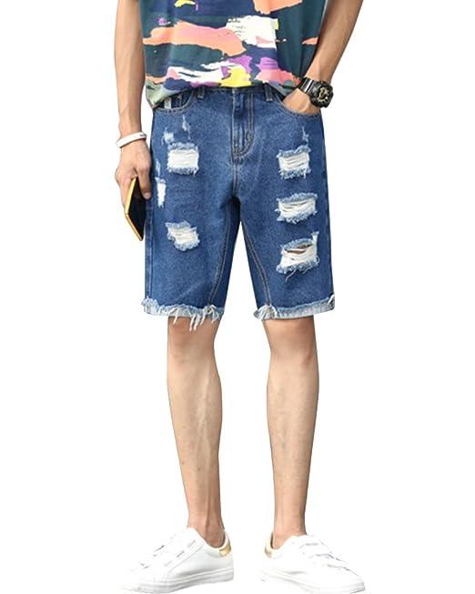 8dd996084df8 Pantalón Vaquero Corto para Hombre Rotos Shorts Rodilla Length Jeans ...