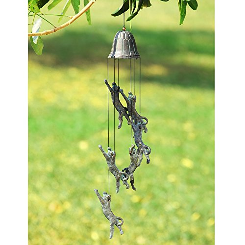SPI Home Wind Chime with Six Pouncing Cat Figurines