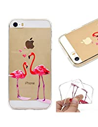 Amocase Clear Case with 2 in 1 Stylus for iPhone SE/iPhone 5/5S,Colorful Print Design Soft Rubber Silicone Shockproof Anti-Scratch Flexible TPU Case,Pink Flamingo