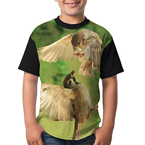 Bird Lovers Kids Boy's Graphic Short Sleeve Funny Crew Neck Tshirts (The Wonder Years Bird Costume)