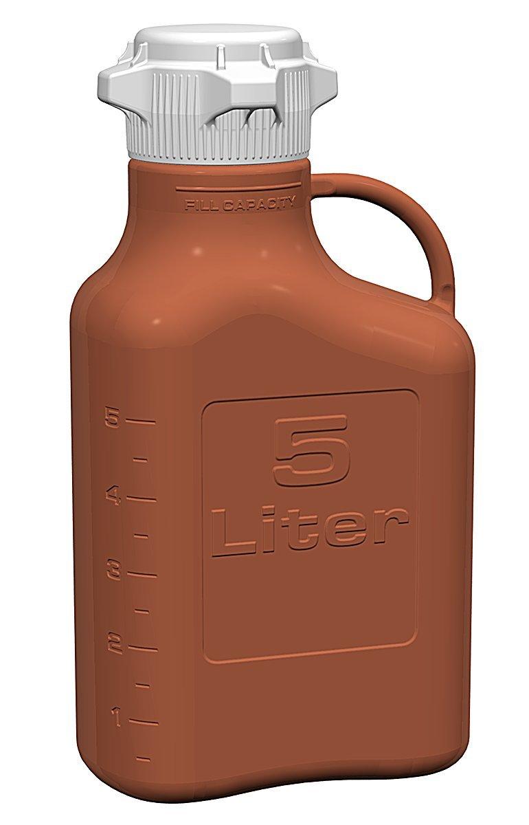 EZ-Grip Amber HDPE Carboy without Spigot, 5L Volume, 80mm Cap Size
