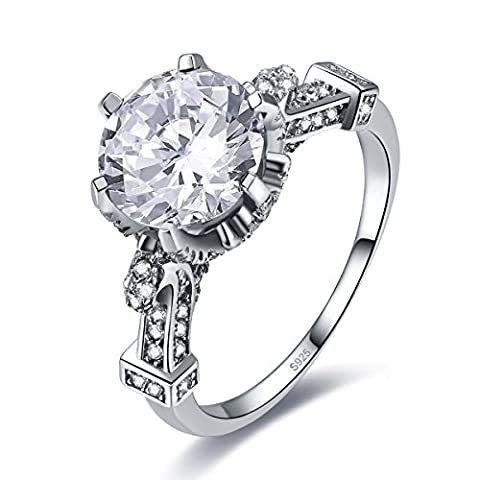 Merthus 6.5ct Cubic Zirconia CZ Engagement Promise Cocktail Ring 925 Sterling Silver - 6.5k Metal