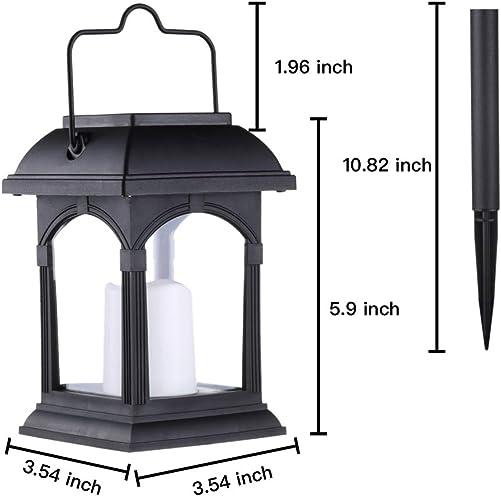 Clihere Solar Lantern Outdoor Hanging, Flickering Retro Candle Effect Solar Stake Light, Solar Hanging Lanterns Outdoor, Solar Decorations Patio Light for Garden,Lawn,Tree,Yard, Umbrella 6 Pack