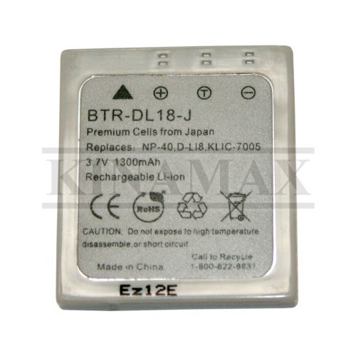 1300mAh NP-40 / D-LI8 / KLIC-7005 Replacement Battery for Fuji FinePix F470, F480, F610, F650, F700, F710, F810, V10, Z1, Z2, Z3; Kodak C763 ; Pentax Optio A10, A20, A30, S4i, S5i, S5n, S5z, S6, S7, SV, T10, T20, W10, W20, WP, WPi, X - Japanese Cells