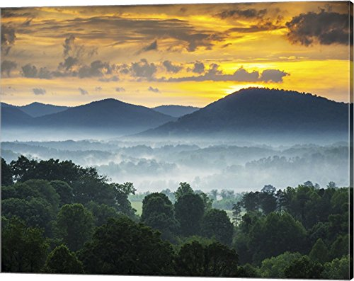 Asheville NC Blue Ridge Mountains Sunset and Fog Landscape Canvas Art Wall Picture, Gallery Wrap, 20 x 16 inches