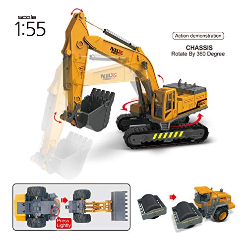 heruo Construction Vehicles Toys with Play Mat 27.5 x 31.5 in, 40 PCS Engineering Vehicles Playset 7 Big Engineer Vehicles Dump Truck Excavator Crane, Toy Gifts for Boys Girls Toddlers and Kids