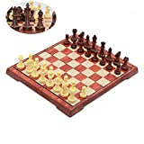 T Tocas Travel Magnetic International Chess Set with Foldable Chessboard, Wooden Design, Large