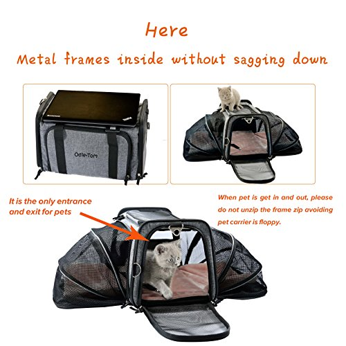 Pet Carrier for Dogs & Cats - Airline Approved Expandable waterproof Soft Animal Carriers -Portable Soft-Sided Air Travel Bag- Eco-friendly material Roomy With a Side Pocket and a Fleece Bed by Odie Tom (Image #1)