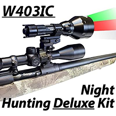 Wicked Lights W403IC Deluxe Night Hunting Kit With Green, Red, and White Intensity Control LED's for Predator