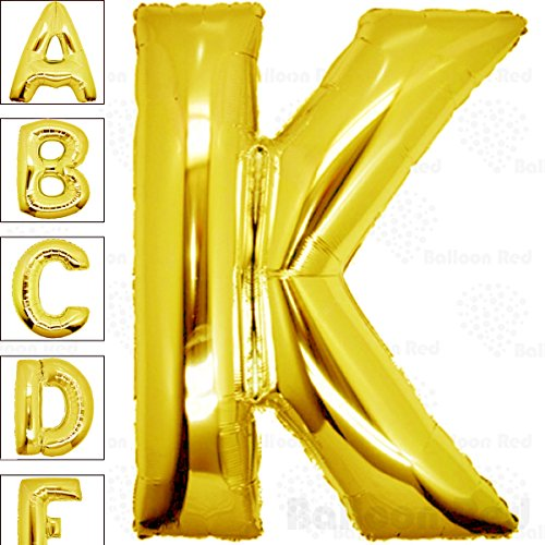 40 Inch Giant Jumbo Helium Foil Mylar Balloons for Party Decorations (Premium Quality), Glossy Gold, Letter K from Balloon Red