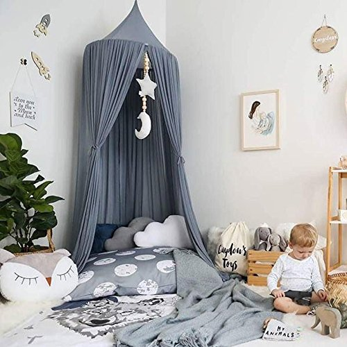 ivivian Mosquito Net Canopy, Dome Princess Bed Canopy Bedcover Curtain Tent Children's Room Decorate for Baby Kids Indoor Outdoor Playing Reading 240cm (Gray)